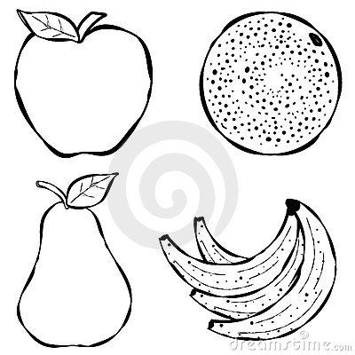 Various Fruit Line Art