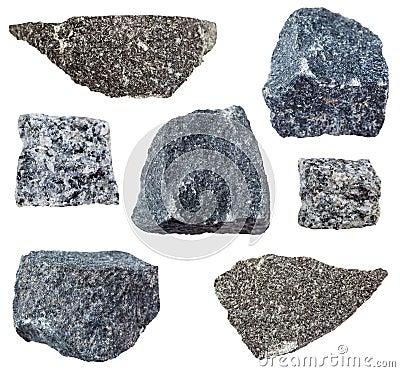 Free Various Gabbro Rocks Isolated On White Stock Image - 105508701