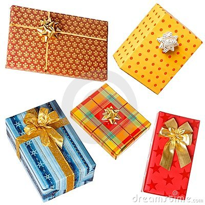 Various gifts on white