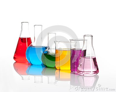 Various glass flasks with a colored liqiuds