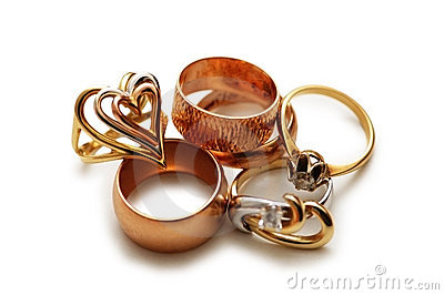 Various golden rings isolated