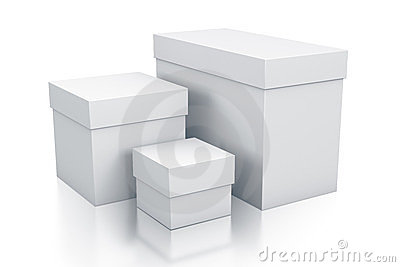 Various group of white boxes.