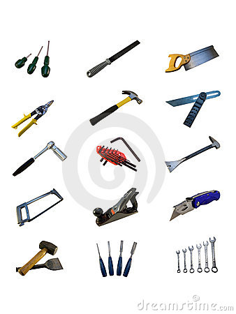 Various hand tools isolated on a white background