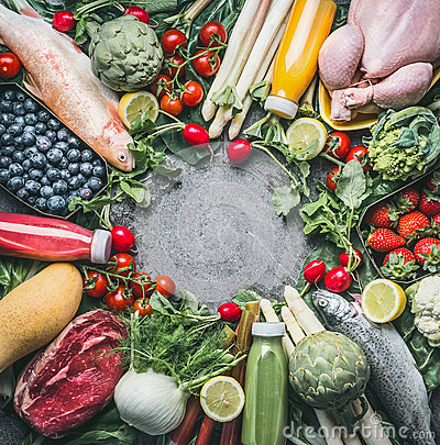 Free Various Healthy Organic Balanced Food Ingredients : Vegetables, Fishes, Meat, Chicken,fruits And Berries, Juices Drinks On Gray C Royalty Free Stock Images - 92452479