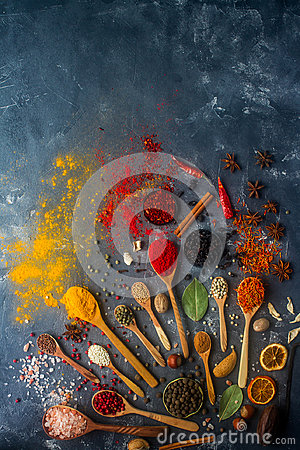 Free Various Indian Spices In Wooden Spoons And Metal Bowls, Seeds, Herbs And Nuts Royalty Free Stock Photography - 95836477