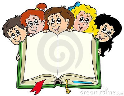 Various kids holding book
