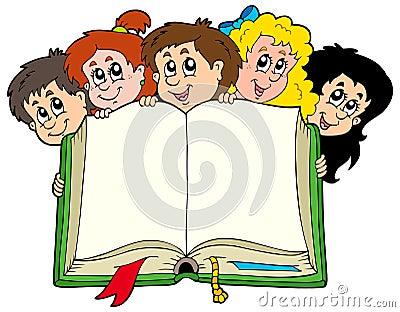 Various kids holding book