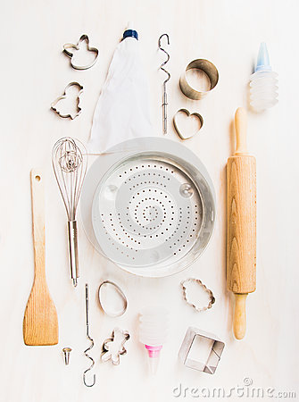 Free Various Kitchen Tools Selection For Easter Baking On White Wooden Background Royalty Free Stock Photo - 64484995