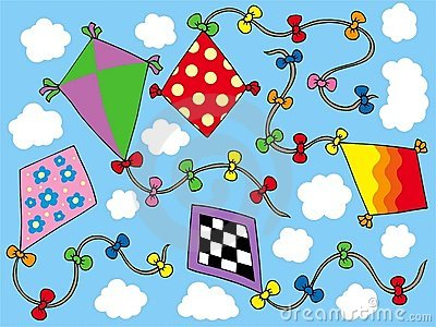 Various kites flying on sky