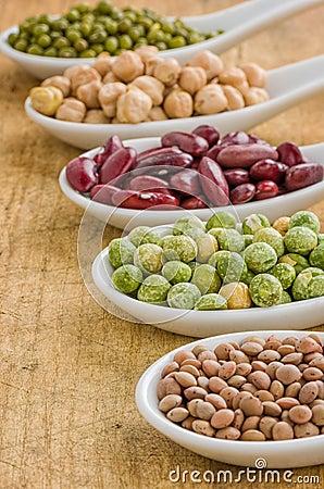 Free Various Legumes On Porcelain Spoons Stock Photo - 31409640