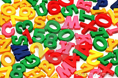 Various letters and digits