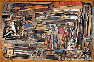 Various metalwork and carpentry tools