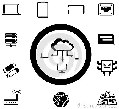 Various IT and network media icon and app collecti