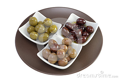 Various olives in bowls