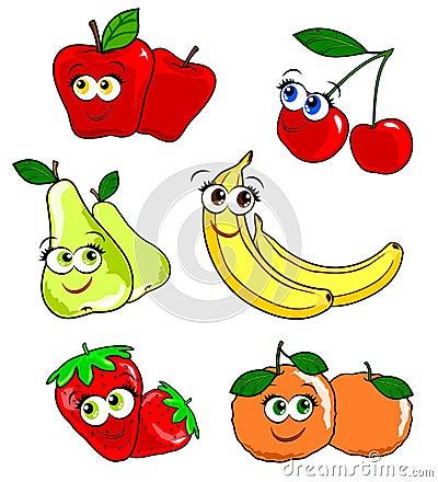 Various pairs of fruit