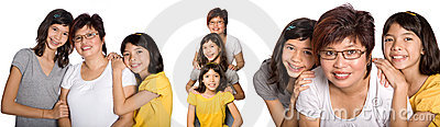 Various portraits of Chinese woman with daughters