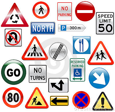 Various road sign glossy