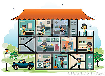 Various Rooms In The House Stock Vector - Image: 40222194