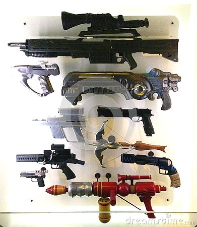 Various sci-fi guns and weapons in sci-fi exhibit at MoPOP in Seattle Editorial Stock Photo