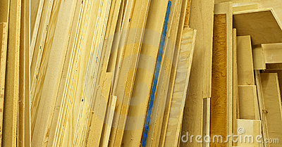 Various Sheets of Plywood Stacked Up