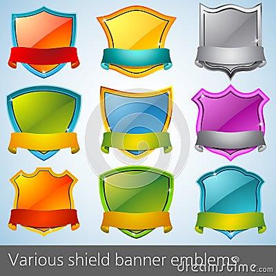 Various shield banner emblems