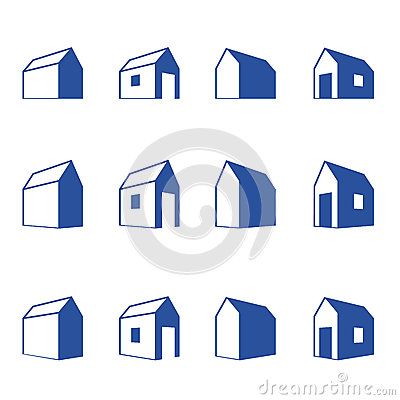 Various signs of small houses in perspective