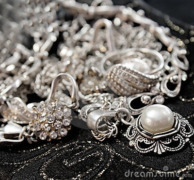 Various silver shining jewellery