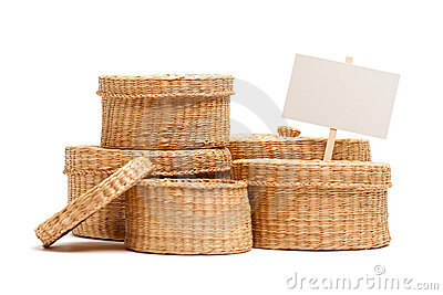 Various Sized Wicker Baskets with Blank Sign