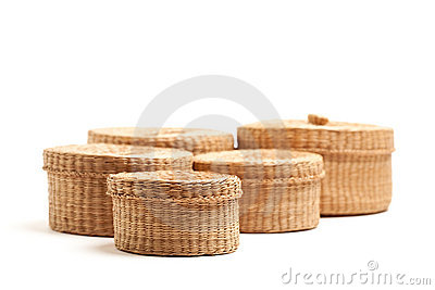 Various Sized Wicker Baskets on White