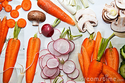 Various Sliced Vegetables