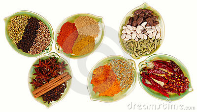 Various Spices in six leaf shape plates