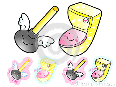 Various styles of Toilet article Sets. Household Items Vector Ic