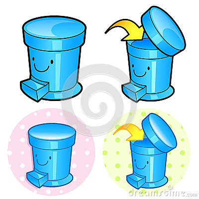 Various styles of Wastebasket Sets. Household Items Vector Icon