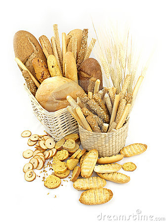 Various types of bread in the basket