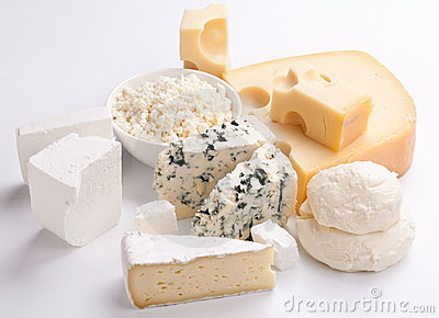 Various types of cheeses.