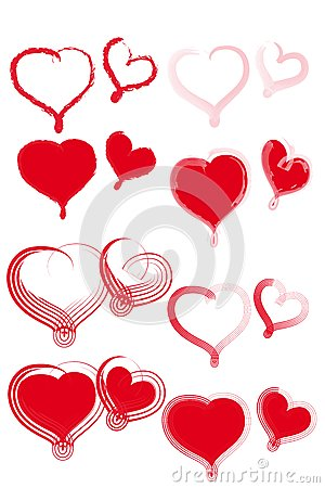 Various types of red hearts.