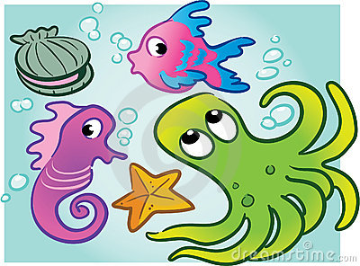 Various vector sea creatures