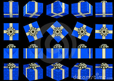 Various views of blue gift box