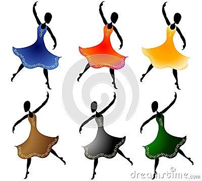 Various Women Dancing Clip Art