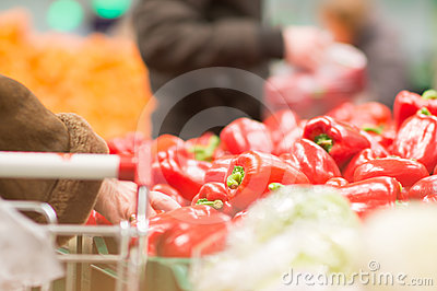 Varitey of peppers on boxes in supermarket