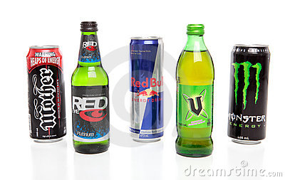 Varities of Energy Drinks Editorial Stock Photo