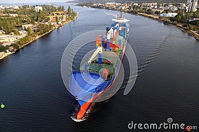 VARNA, BULGARIA - SEPTEMBER 26: Turkish cargo ship Editorial Photography