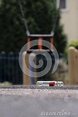 Varning för alkoholismbarnlekplats s