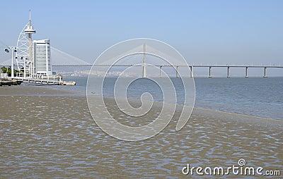 The Vasco da Gama Tower  and  Bridge Editorial Photo