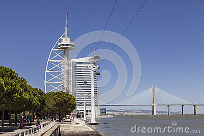 Vasco da Gama Tower, Myriad, Bridge - Lisbon Editorial Stock Image