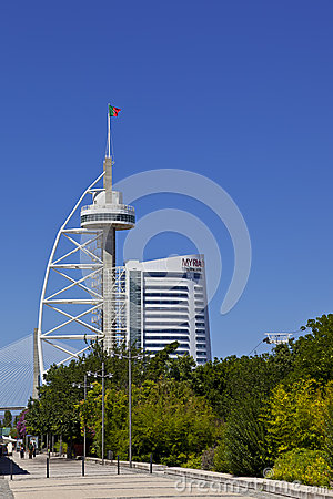 Vasco da Gama Tower / new Myriad Hotel - Lisbon Editorial Stock Image