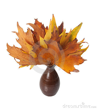 Vase of Autumn Leaves