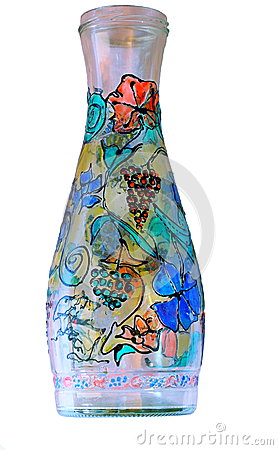 Vase bottle paints glass