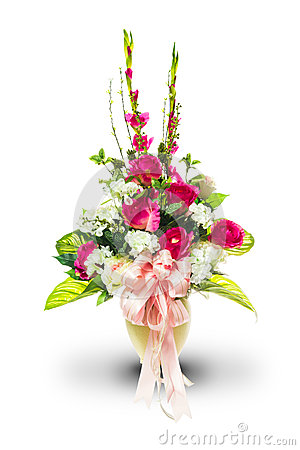 Vase and bunch of flowers with clipping path