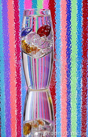 Vase of Colored Glass Pebbles